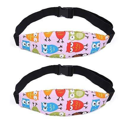 2 Pza Soporte Cabeza Sujeta de Coche para Niños Arnés Cinturón Ajustable de Seguridad Fijación Protección