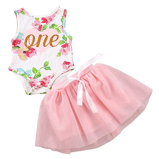 d91a62b99ef4 Newborn Baby Girl First Birthday Outfits 2pcs Set One Piece Floral Romper  Top Bodysuit Tutu Skirt