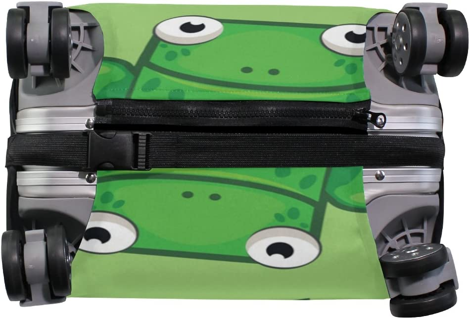 OREZI Luggage Protector Cute Cartoon Square Frog Travel Luggage Elastic Cover Suitcase Washable and Durable Anti-Scratch Stretchy Case Cover Fits 18-32 Inches