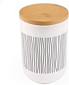 77L Food Storage Canister, 19.59 FL OZ (580 ML) Ceramic Food Storage Canister with Airtight Wooden Lid - Food Storage Jar with Round Bottom for Serving Oatmeal, Cookie, Coffee and More