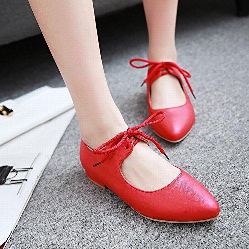Mee Shoes Damen süß Flach Schnürung runde ballerinas Schuhe Rot