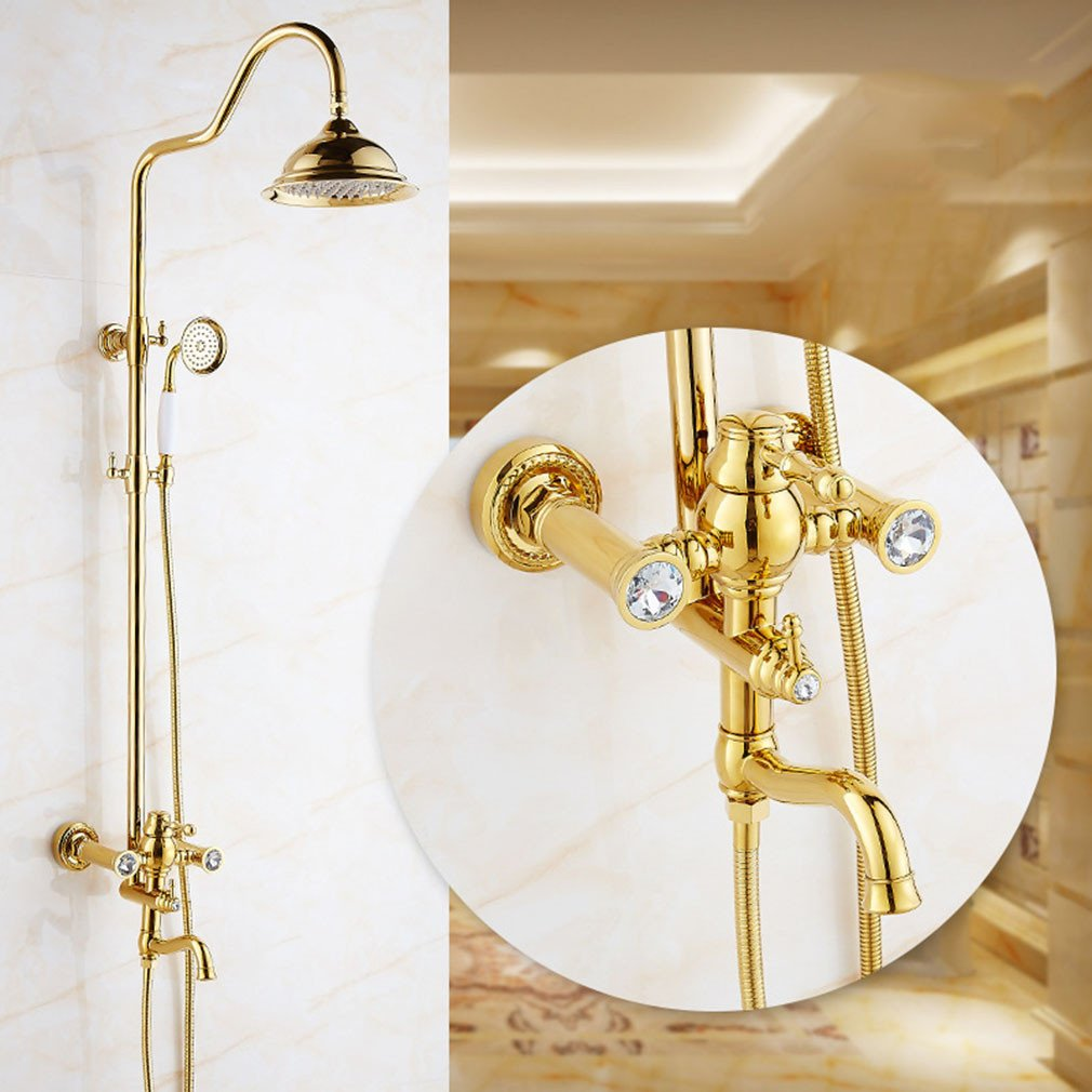 A AiRobin-Luxury gold Bathroom Brass Hot and Cold Water Rain Shower System,A