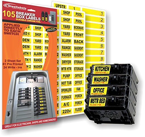 Circuit Breaker Decals - 105 Tough vinyl labels for Breaker Panel Boxes - Great for Home or Office - Apartment Complexes and Electricians - Placed directly on Switch or Fuse - Bright Easy Read Color