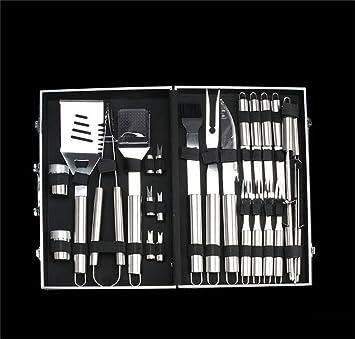 Holzsammlung 26 piezas utensilios barbacoa para kit barbacoa de acero inoxidable para barbacoa cubiertos en maletín de aluminio: Amazon.es: Jardín