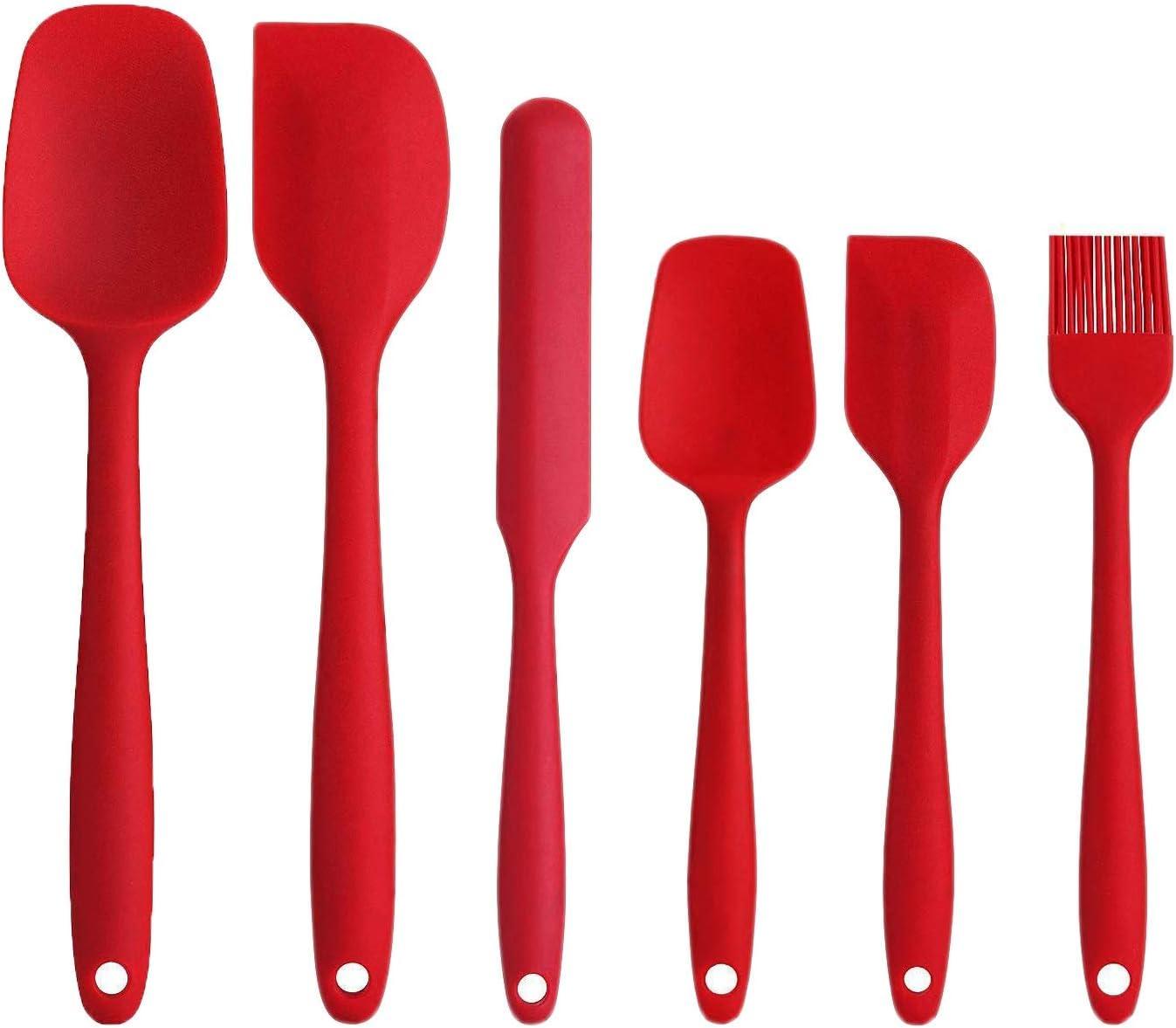 Juego de Utensilios antiadherentes para cocinar esp/átulas Resistentes al Calor n/úcleo de Acero Inoxidable Resistente Rojo Gxhong esp/átulas de Silicona Juego de 6 cocinar y Mezclar