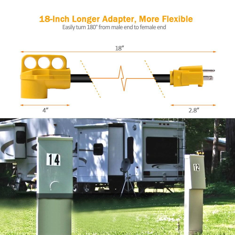 MICTUNING RV Dogbone Electrical Adapter 18 15M//50F Heavy Duty Power Cord with Handle 125V//1875W