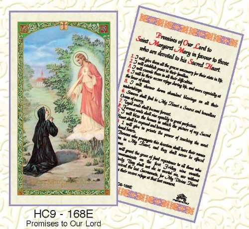 (Promises of Our Lord to Saint Margaret Mary in Favour to those who are Devoted to his Sacred Heart. Laminated 2-Sided Holy Card (3 Cards per Order))