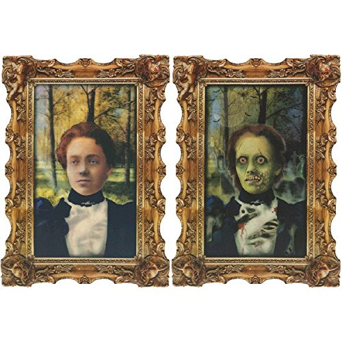 Amscan Scary Ghoul Lenticular Portrait Halloween Haunted House Wall Decoration, Multicolor, 18