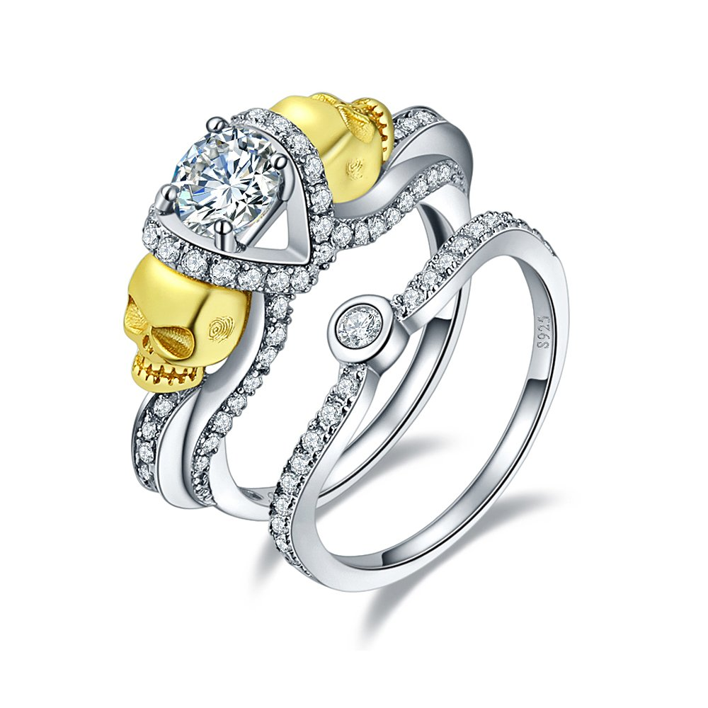 BONLAVIE Solid 925 Sterling Silver & 18K Gold Plated Round Cut CZ Anniversary Ring for Women Size 8