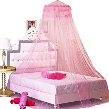 Blue Floralby Princess Bed Net Canopy Bedding Decor Sweet Style Round Dome Mosquito Net