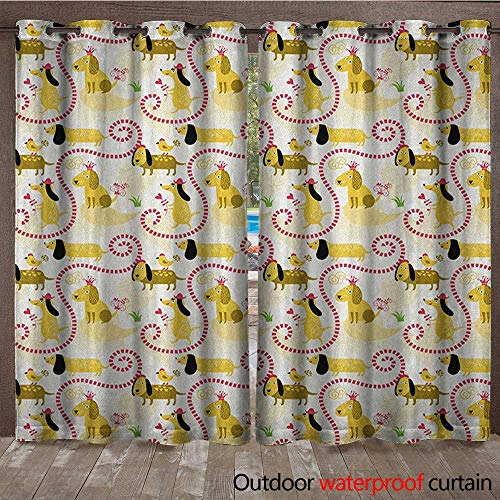 BlountDecor Dog Grommet Curtain Panel Abstract Beagle Breed Design with Geometric Shapes Hearts Swirls and Short Lines LoveW120 x L96 Multicolor