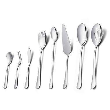 Serving Set, HaWare 8-Piece Serving Flatware Set, Pure Stainless Steel Hostess Serving Set, Includes Serving Spoon/Pie Server/Butter Knife, Dishwasher Safe