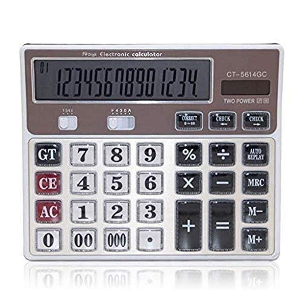 Calculator Office Accounting 14 Large Display Big Button Desktop Calculator School Home Office Battery Desktop Calculator Office Calculator Vineyard (Color : 2A) by Vineyard