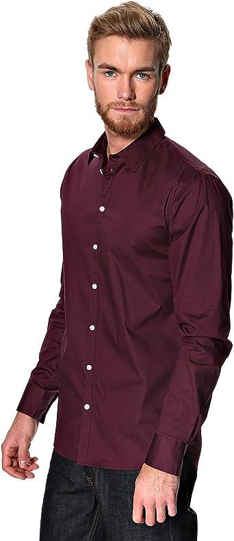 minimum - Camisa Formal - para Hombre Rojo Rojo Burdeos: Amazon.es: Ropa y accesorios