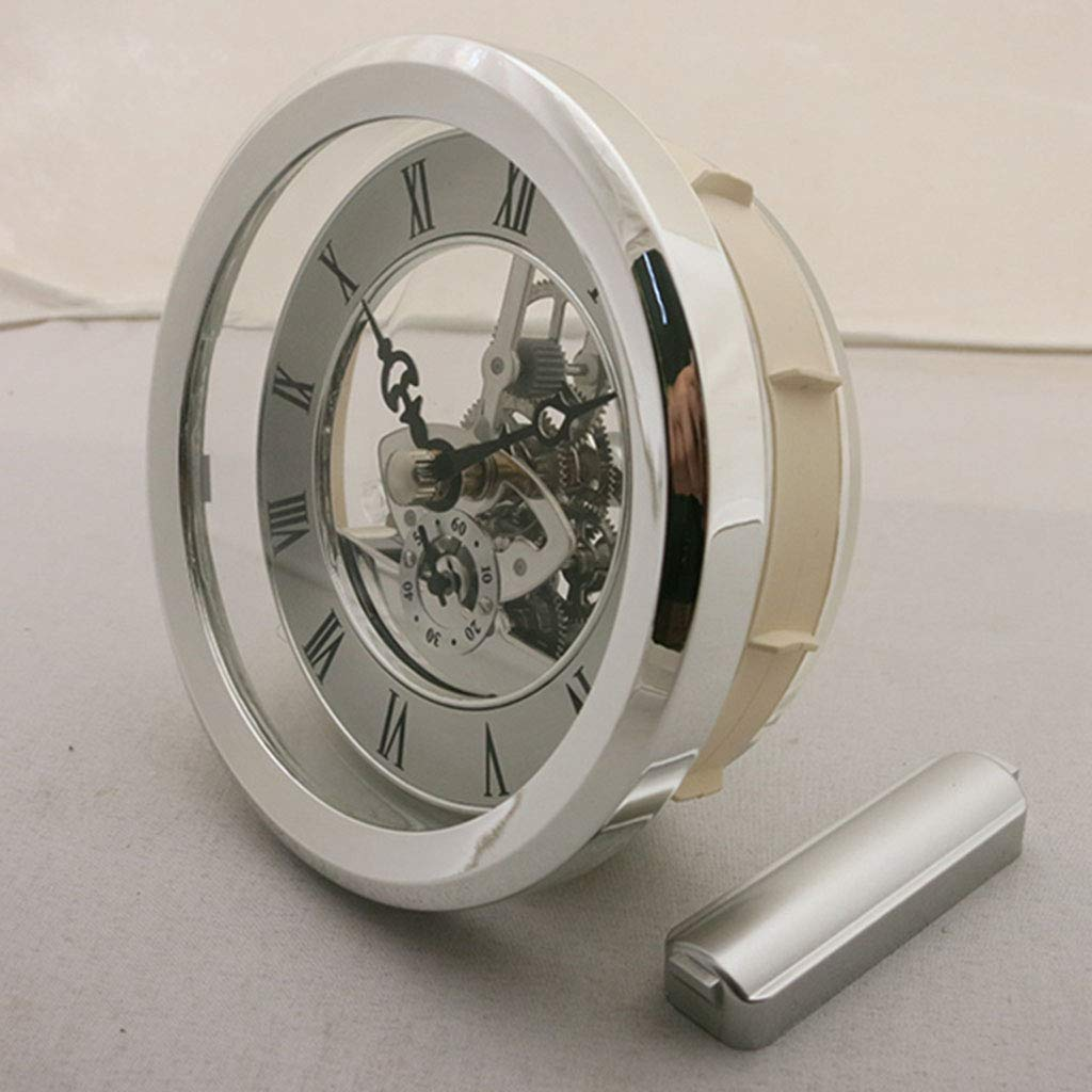 Fityle 4 Pieces Clear Skeleton Insert Clock Movement Quartz Battery Fit Up 91mm Silver Roman Dial by Fityle (Image #3)