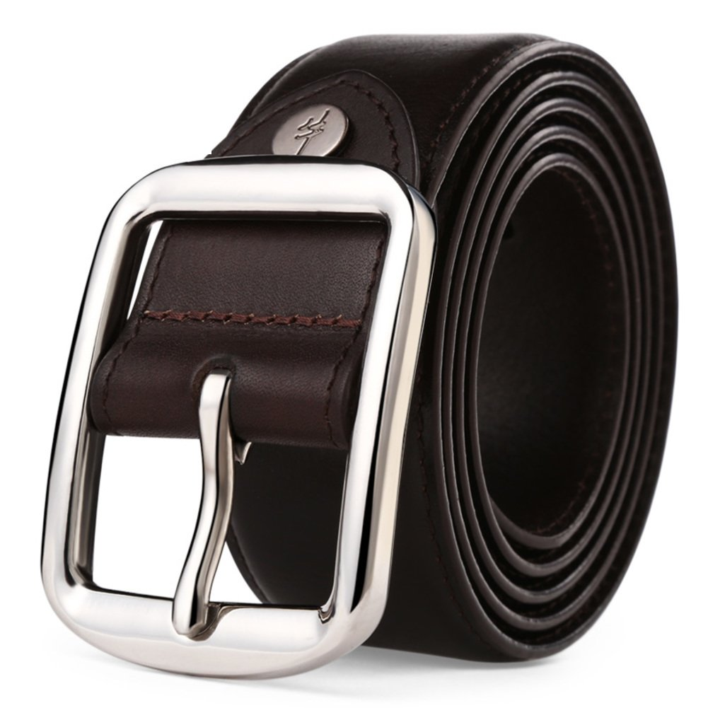 JIEJING Men's Belt,Stainless steel Pin buckles Belt Leisure wild Decoration Business Belt-dark brown 115cm(45inch)