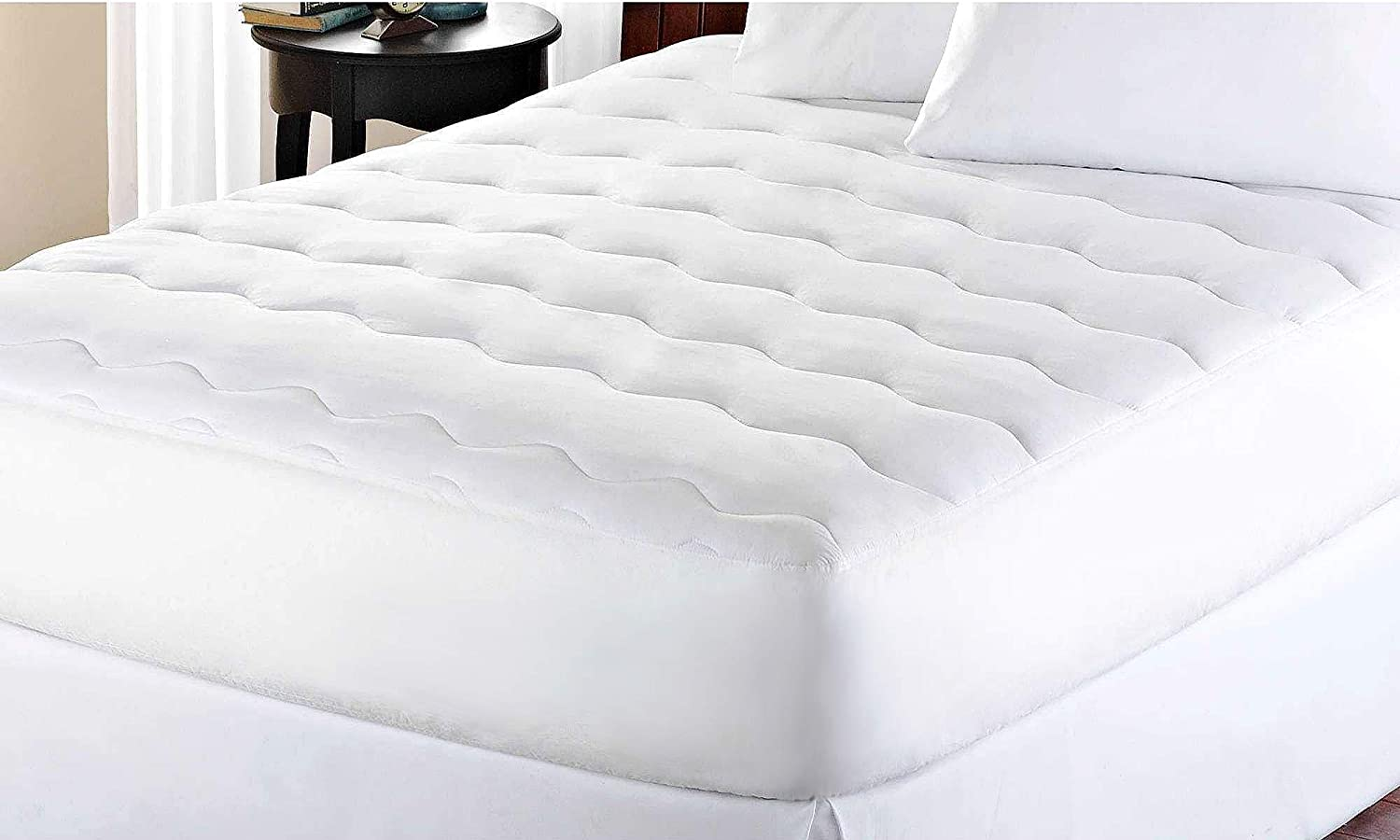 Blue Ridge Home Fashions Kathy Ireland-Essentials Microfiber Water Proof Full in White Color Mattress Pad