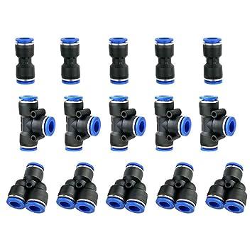 5 Neumática 8mm A 8mm T en forma de empuje en rápido Accesorios Conectores