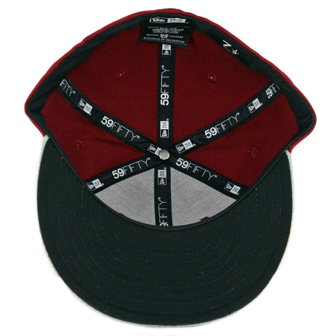 Cardinal/White-Heather Grey New Era 5950 Toros de Tijuana Fitted Hat LMB Cap