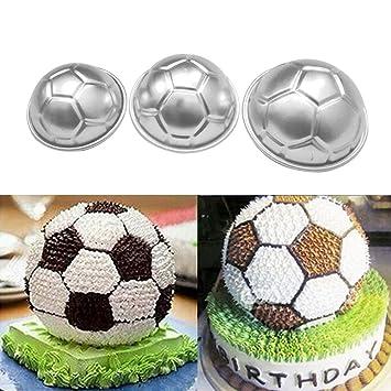 wiFndTu - Molde para hornear en forma de balón de fútbol, aleación de aluminio,