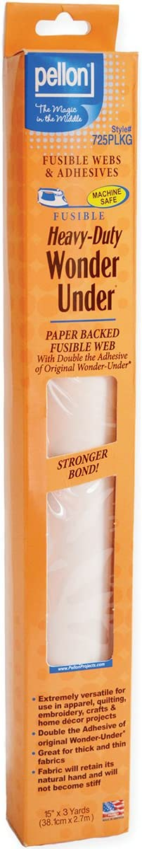Pellon Heavy-Duty Wonder-Under-Paper-Backed fusible Web w//Double Adhesive Each White