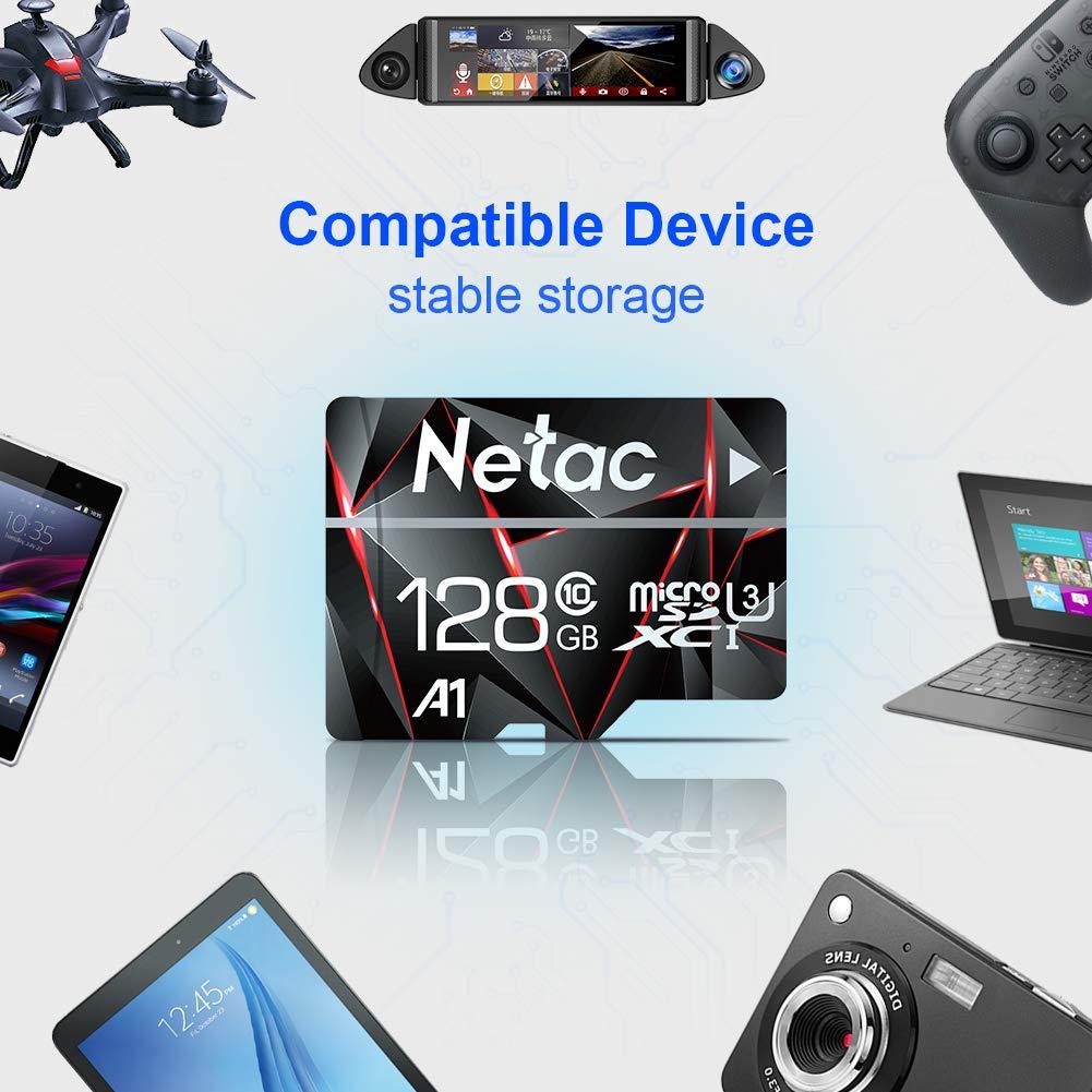 128GB Micro SD Card, Netac Memory Card MicroSD High Speed Transfer A1 C10 U3 MicroSDXC TF Card for Cemera/Phone/Nintendo-Switch/Galaxy/Drone/Dash ...
