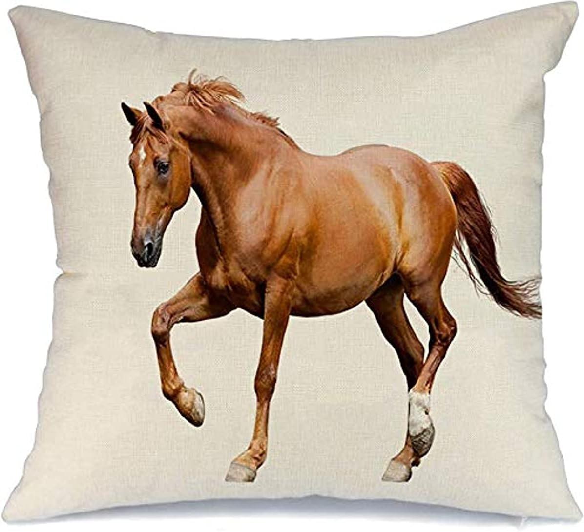 BONRI Almohada decorativa de poliéster con estampado de castaño para correr, elegante crin de caballo, fuerte concienciación, colorido, elegante, blanco naturaleza, cojín cuadrado (45 x 45 cm)