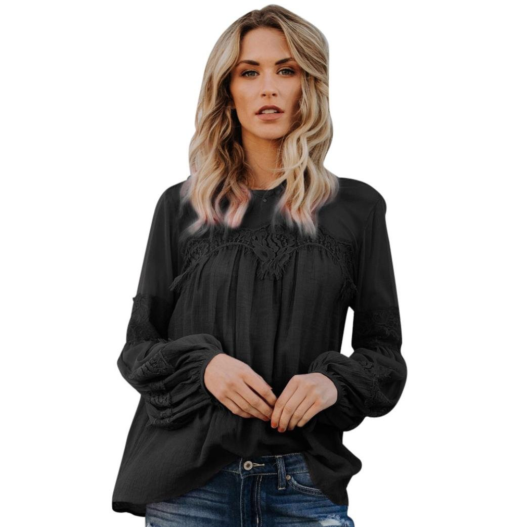 Mikey Store 2018 New Summer Casual Long Sleeve Beach Blouse Casual Loose Tops (Small, Black)