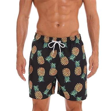 83f56e3c1b902 Amazon.com: Mens Beach Shorts, Tropical Pinapple Printed Slim Fit Quick Dry  Short Swim Trunks Casual Pants with Mesh Lining: Clothing