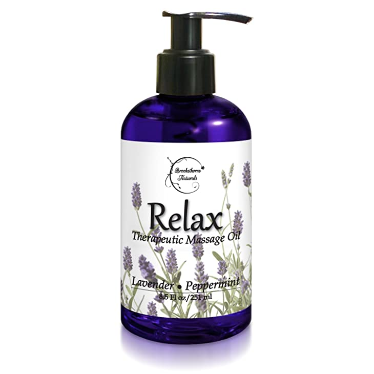 Relax Therapeutic Body Massage Oil - Contains Best Essential Oils for Sore Muscles & Stiffness – Lavender, Peppermint & Marjoram - All Natural - With Sweet Almond