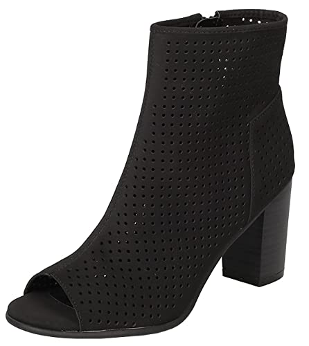 Women's Perforated Stacked Chunky Heel Peep Toe Bootie