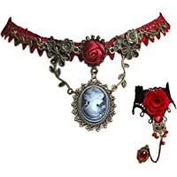 Christmas Vintage Rose Vine Lace Choker Necklace Retro Lace Bracelet Red Crystal Ring for Women Girls Xmas Cosplay…