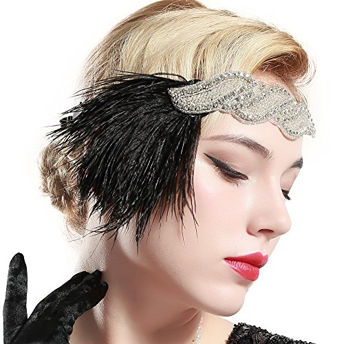 Price comparison product image BABEYOND 1920s Flapper Headband 20s Great Gatsby Headpiece Black Feather Headband 1920s Flapper Gatsby Hair Accessories with Crystal Black