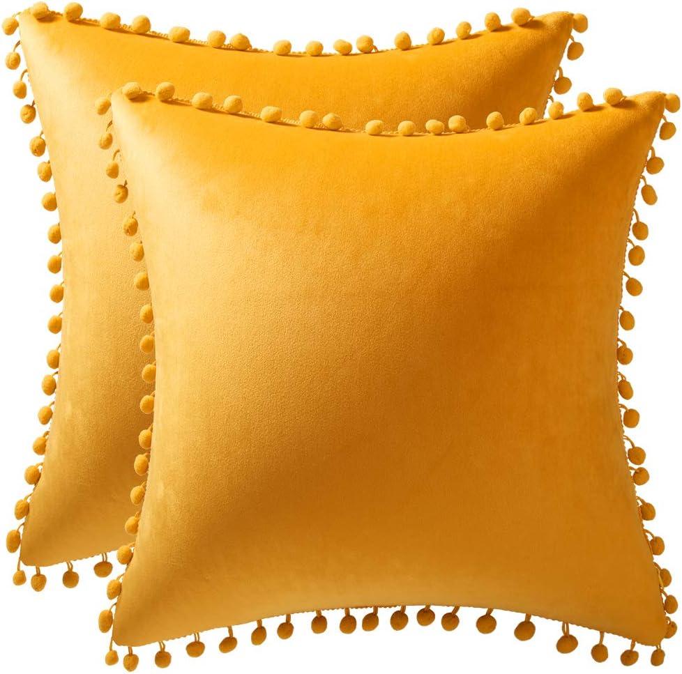 DEZENE Couch Pillow Covers 20x20 Orange-Yellow: 2 Pack Cozy Soft Pom-poms Velvet Square Throw Pillow Cases for Farmhouse Home Decor