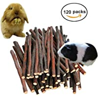 Petawi 120PCS Apple Wood Chew Sticks for Small Rodents Pet Supplies and Accessories Organic Apple Sticks Tree Branches Chewing Sticks Toys for Teeth Ideal for Rabbits Syrain Hamster Ferret Parrot Guinea Pigs Chinchilla Squirrel