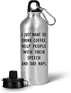 Gifts for Speech Therapist Water Bottle Tumbler Drinkware - SLP Language Pathologist Correctionist Voice Therapy Pathology Graduate Funny Cute Gag Appreciation Idea - Coffee Help People Speech Naps