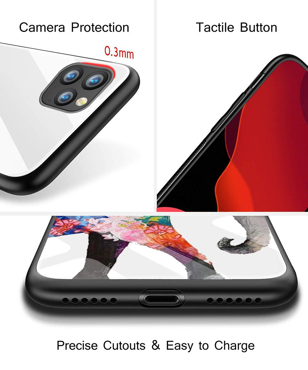 Folivora Transparent Protective Cover Anti-Yellow Oihxsetx Compatible for iPhone 11 // XI Pro Max Tempered Glass Case,Clear Cute Pattern Glass Back Soft Silicone Rubber Gel Shockproof Bumper
