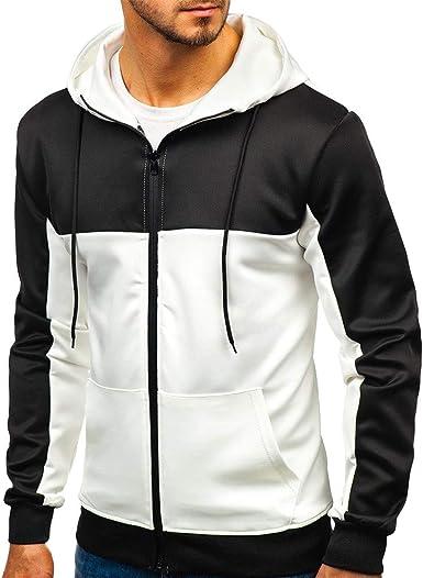 Hombres Nueva Sudadera Moda Casual Patchwork Slim Hoodie Outwear ...