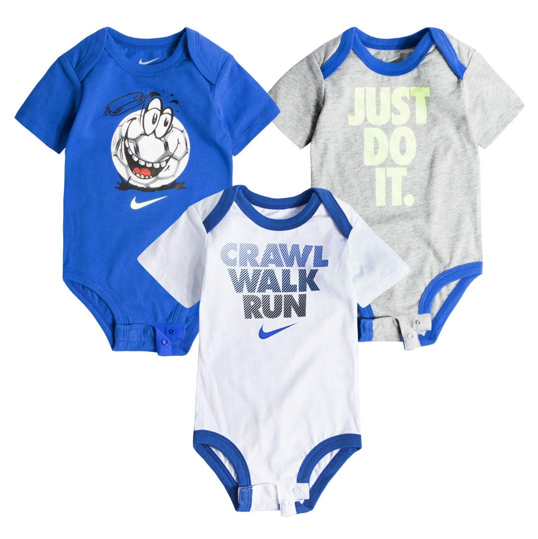 7a1bc6c839 Galleon - Nike Swoosh Three-Piece Infant Baby Bodysuit Set (0-3 Months,  White(56D110)/Blue//Blue)