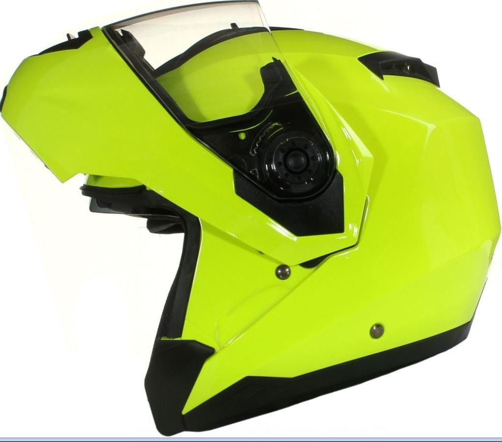 Giallo XS 53-54cm Qtech Casco MODULARE per Moto con Integrale Doppia Visiera