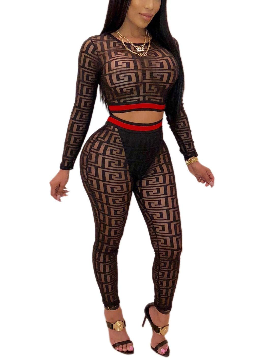 Yeshire Women's 2 Pieces Outfit Long Sleeve Mesh See Through Crop Top and Long Pants Sets Sexy Jumpsuits Clubwear Small Black