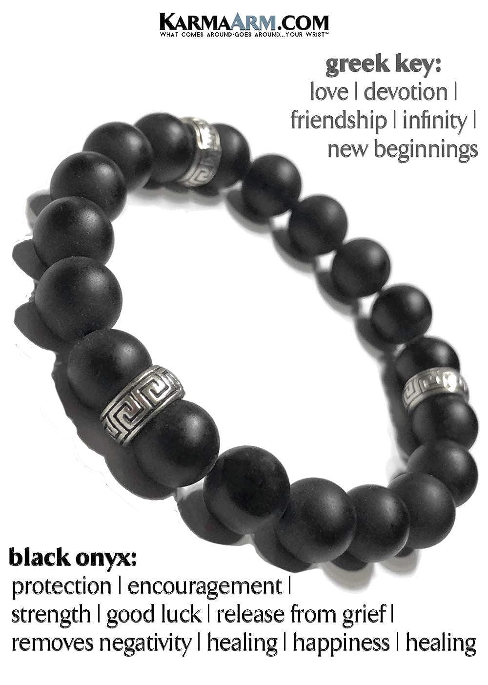 KarmaArm Greek Key Love Bracelet Boho Wrap Stretch Chakra Reiki Healing Energy Beaded Yoga Jewelry Meditation Wristband New Start : Matte Black Onyx