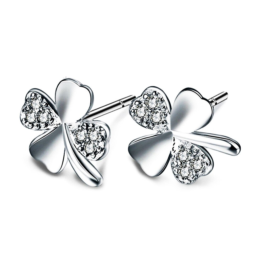 Lovind Four-Leaf Clover Stud Earring,Fashion Silver Plated Earring Girl Gift Valentine's Day Present