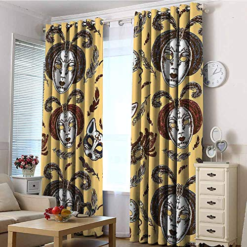 EwaskyOnline Sliding Door Curtains,Masquerade Venetian Style Paper Mache Face Mask with Feathers Dance Event Theme,Hipster Patterned,W72x96L Mustard Brown White