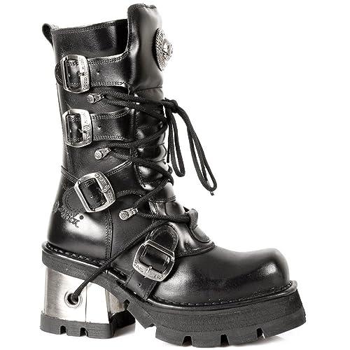 size 40 6fc49 d4067 Newrock 373-S33 Stivali da Donna in Pelle Nera con Tacco ...
