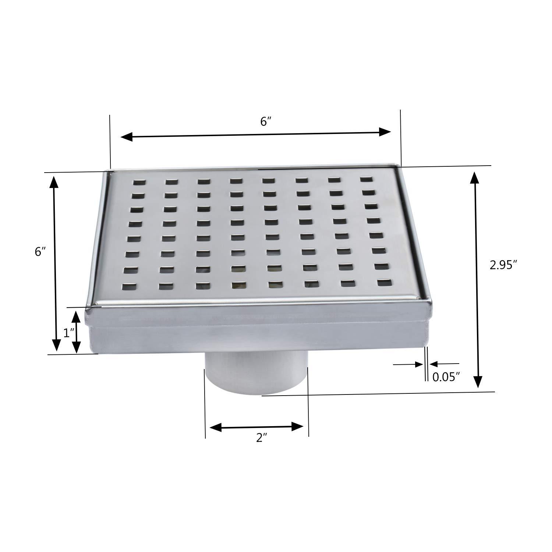 Fryotuc Rustproof Shower Drain 6 Inch Bathroom Floor Drain Brushed Shower Drain Cover with Quadrate Pattern by Fryotuc (Image #6)