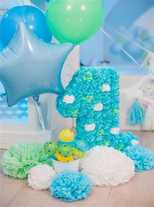 YongFoto Primero contexto cumpleaños Globos de colores de las flores de papel 3x5ft Boy fiesta de cumpleaños Menaje Backdrops Dulces Fotografía B