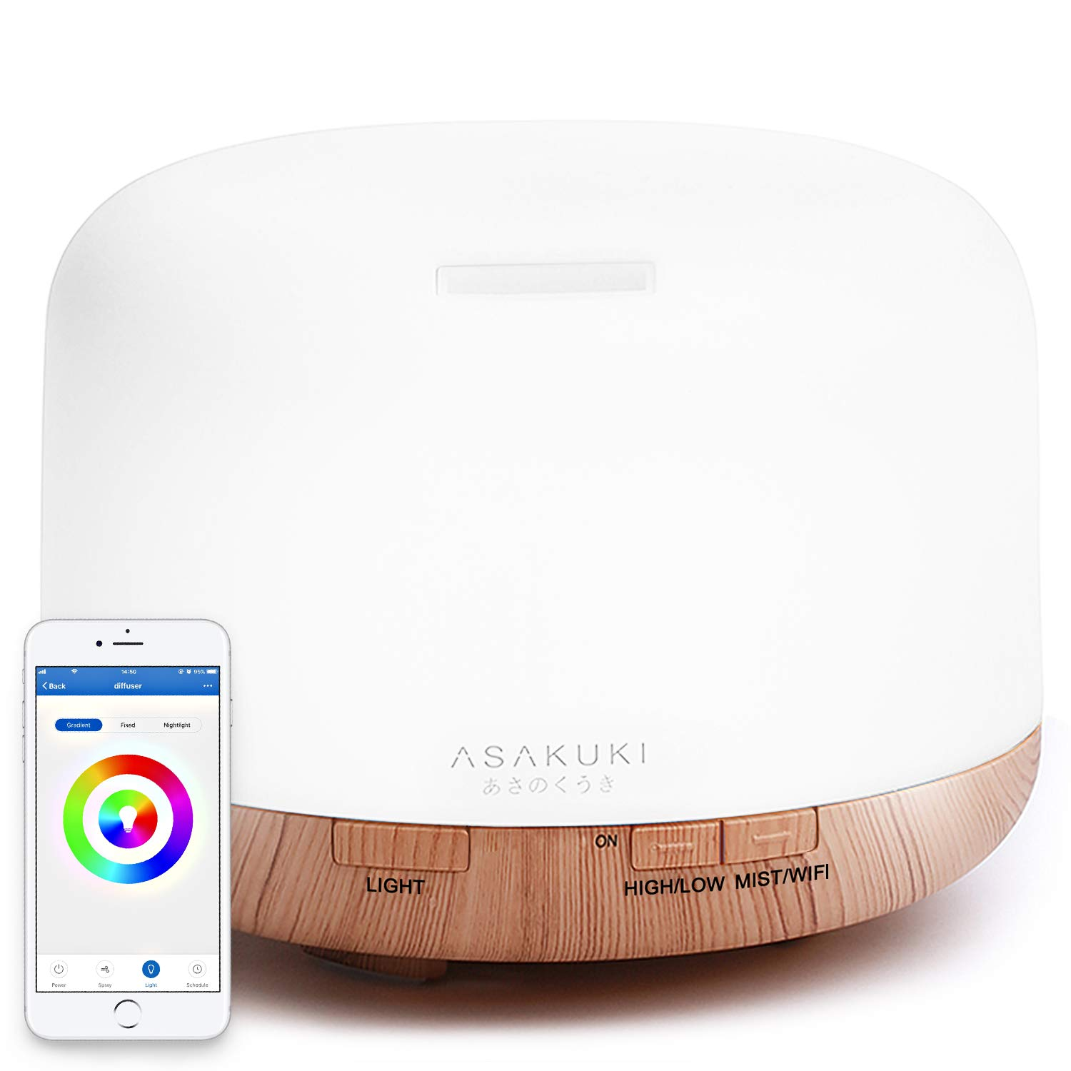 ASAKUKI Smart Wi-Fi Essential Oil Diffuser, App Control Compatible with Alexa, 2019 UPGRADE Design 500ml Aromatherapy Humidifier for Relaxing Atmosphere in Bedroom and Office-Better Sleeping&Breathing by ASAKUKI