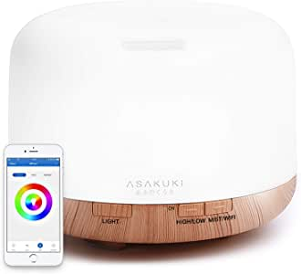 ASAKUKI Smart Wi-Fi Essential Oil Diffuser, App Control Works with Alexa, 500mL Aromatherapy Humidifier for Air Purifying and Relaxing Atmosphere in Bedroom and Office, Better Sleeping and Breathing