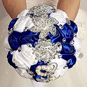 Flonding Wedding Bouquets Crystal Satin Rose Bride Bridal Bouquet Romantic Bridesmaid Holding Flower for Valentine's Day Confession Party Church Decor (Royal Blue White) 88